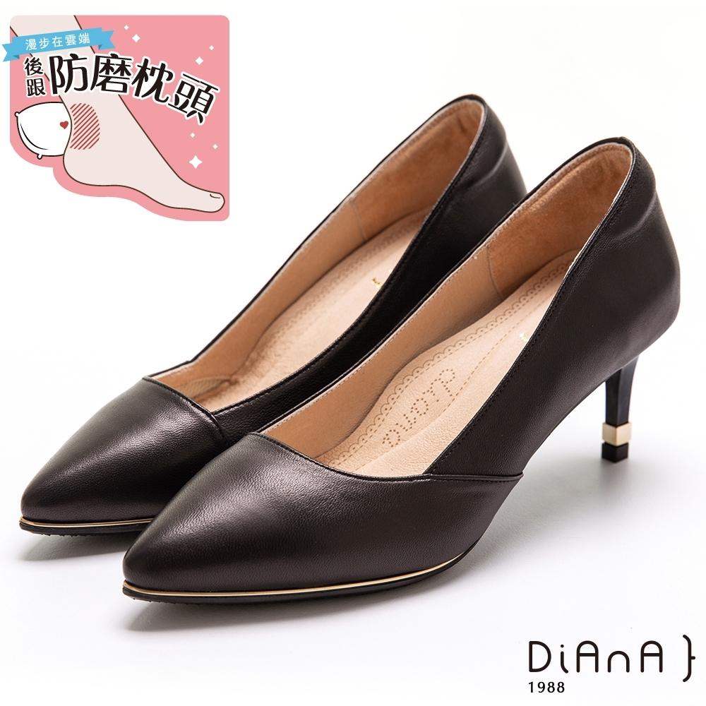 DIANA軟混種羊皮素面 6.5CM 超細跟知性跟鞋-漫步雲端超厚切焦糖美人–黑