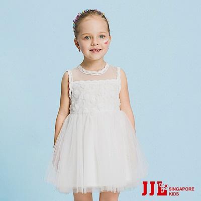 JJLKIDS 法式浪漫立體花雪紡蕾絲洋裝(白色)