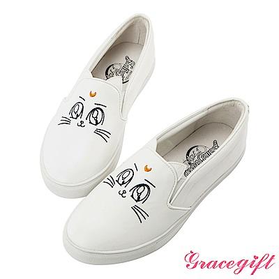 Grace gift-美少女戰士月亮飾釦皮革懶人鞋 白