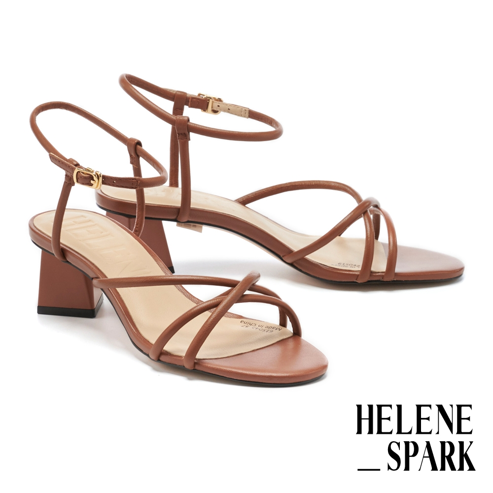 涼鞋 HELENE SPARK 氣質簡約圓滾交叉繫帶全真皮粗高跟涼鞋-棕