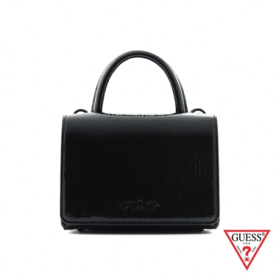 GUESS-女包-時尚漆皮素面雙層手提包-黑 原價2890
