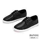 達芙妮DAPHNE 休閒鞋-經典潮流純色綁帶休閒鞋-黑