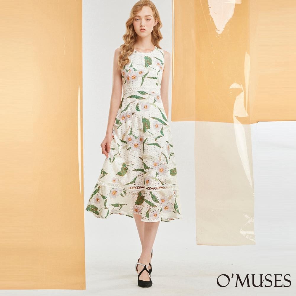 OMUSES 布蕾絲刺繡印花長洋裝