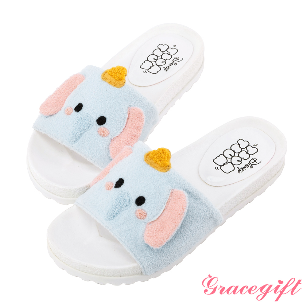 Disney collection by grace gift立體毛絨寬版涼拖鞋 綠