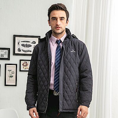 Valentino Rudy 范倫鐵諾.路迪 防潑水保暖外套-可拆帽-深紫藍