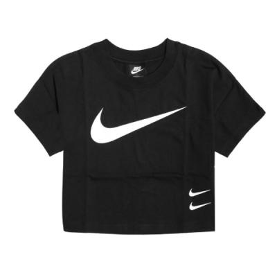 Nike T恤 NSW Swoosh Top 運動休閒 女款 勾勾 圓領 棉質 短版 流行穿搭 黑 白 CJ3765010