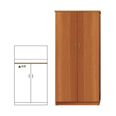 韓菲-南方松色塑鋼雙門衣櫃-91x52.5x180cm