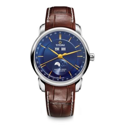 TITONI瑞士梅花錶 天文台認證月相錶(94588 S-ST-636)-藍/41mm