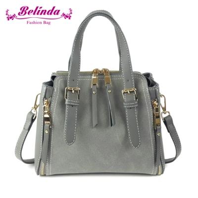 【Belinda】雪絨花手提側背包(灰色)