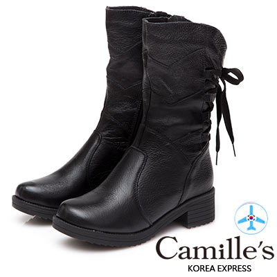 Camille's 韓國空運-牛皮後蝴蝶結綁帶中筒靴-黑色