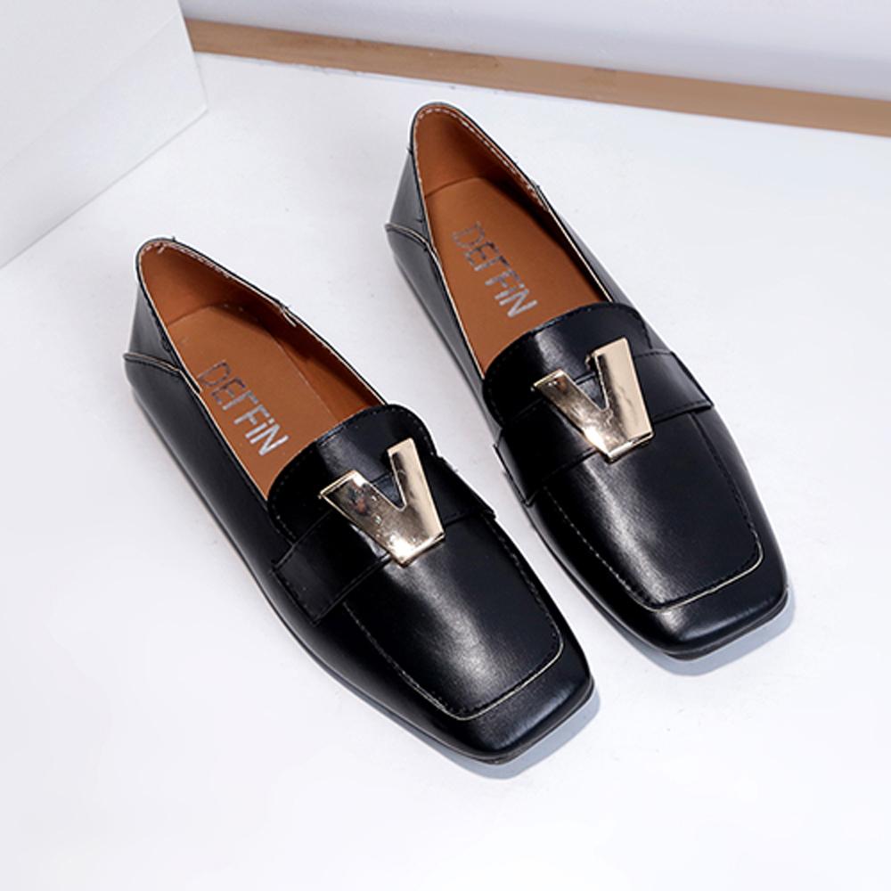 韓國KW美鞋館 歐洲站搶眼奢華小金懶人鞋-黑色
