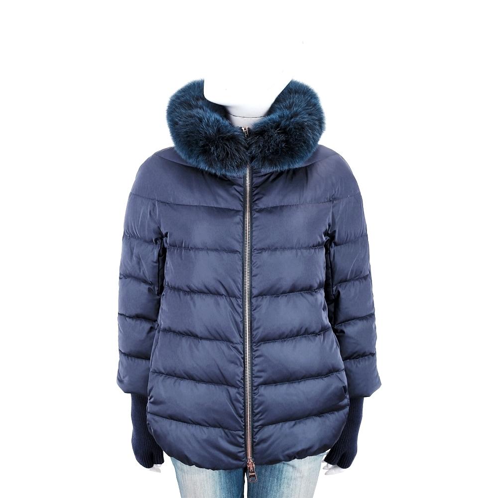 HERNO 深藍色絎縫羽絨外套(狐狸毛領x羊毛袖套皆可拆)