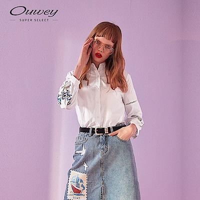 OUWEY歐薇 花卉刺繡襯衫(白)