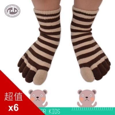 貝柔舒服棉兒童五趾襪_快樂條紋(6雙組)