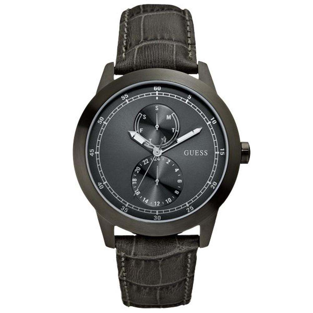 GUESS 簡約時尚學紳士腕錶-灰-W85120G1-44mm
