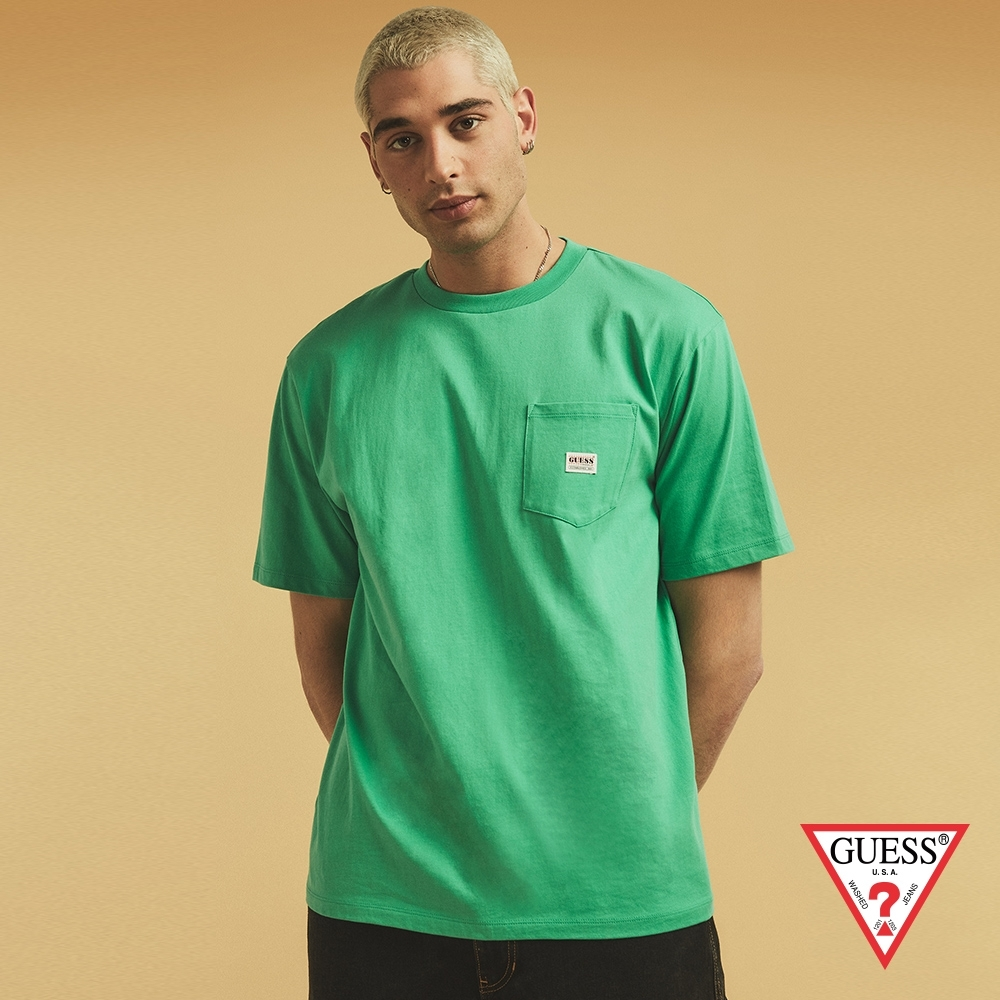GUESS-男裝-ORIGINALS系列簡約素色短T-草綠 原價1290