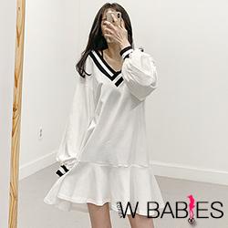 正韓 學院風V領長袖魚尾洋裝 (共二色)-W BABIES