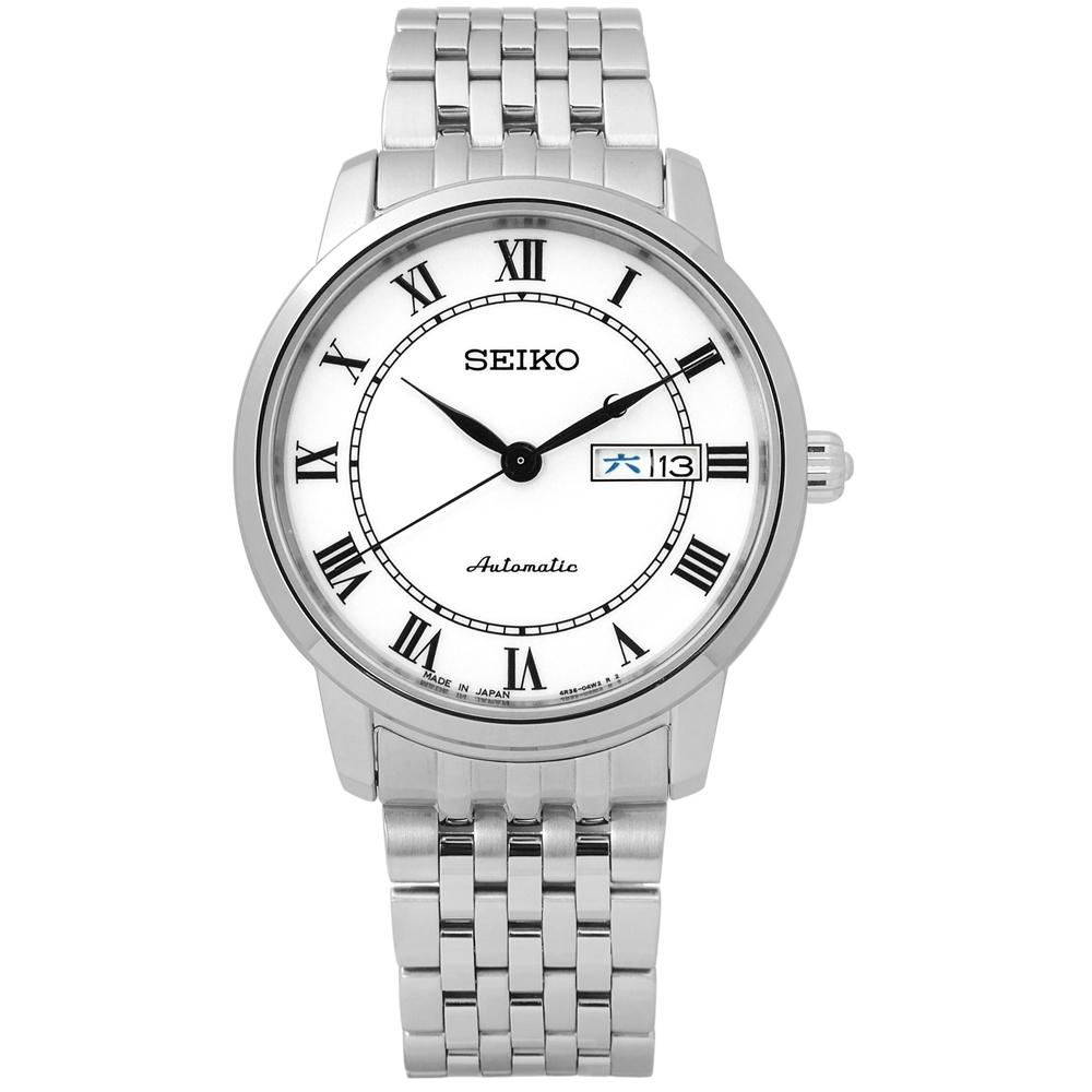 SEIKO 精工 PRESAGE 自動上鍊 藍寶石水晶 不鏽鋼機械手錶-白/39mm