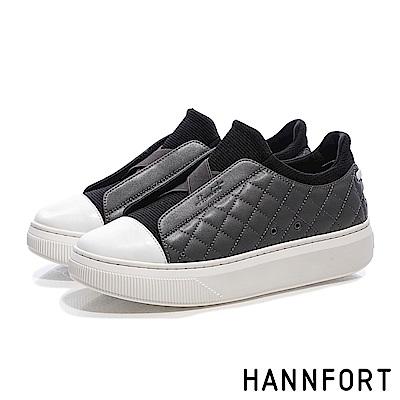 HANNFORT CAMPUS PLATFORM經典菱格增高厚底休閒鞋-女-灰