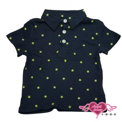 【天使霓裳-童裝】超級巨星 潮流短袖Polo衫(深藍)