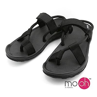 mo.oh 情侶款舒適柔軟多功能沙灘涼鞋-黑色