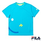 FILA KIDS #FUN開心 男童吸濕排汗上衣-藍綠1TES-4422-TG