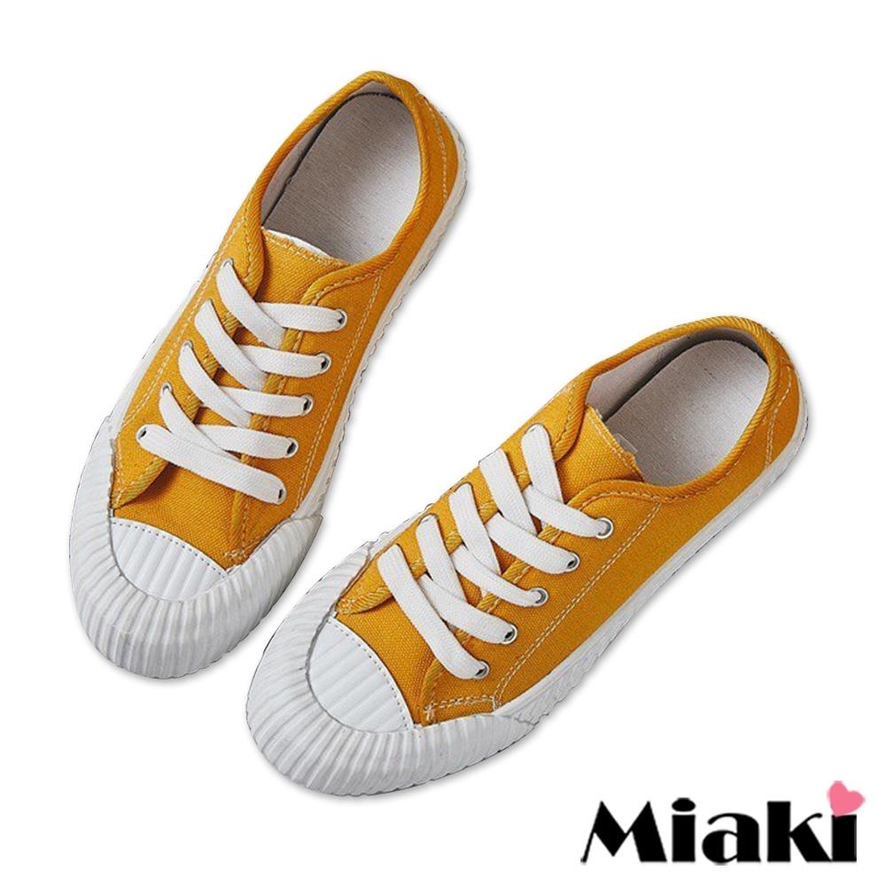 Miaki-帆布鞋學院復刻加厚餅乾鞋-黃