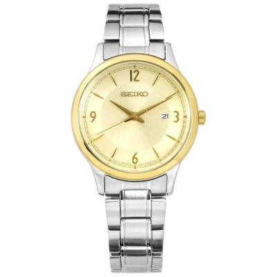 SEIKO 精工 50週年限量款 簡約 礦石強化玻璃 日本機芯 不鏽鋼手錶-金色/29mm
