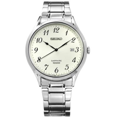 SEIKO 精工 簡約 藍寶石水晶 防水 不鏽鋼手錶-米白色/40mm