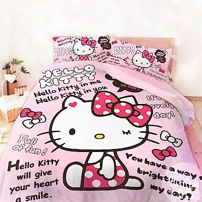 享夢城堡 精梳棉雙人床包兩用被套四件組-HELLO KITTY 我的小標語-粉