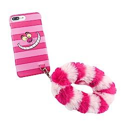 迪士尼iPhone 6/6s/7/8 Plus(5.5吋)共用妙妙貓毛絨皮革保護殼套