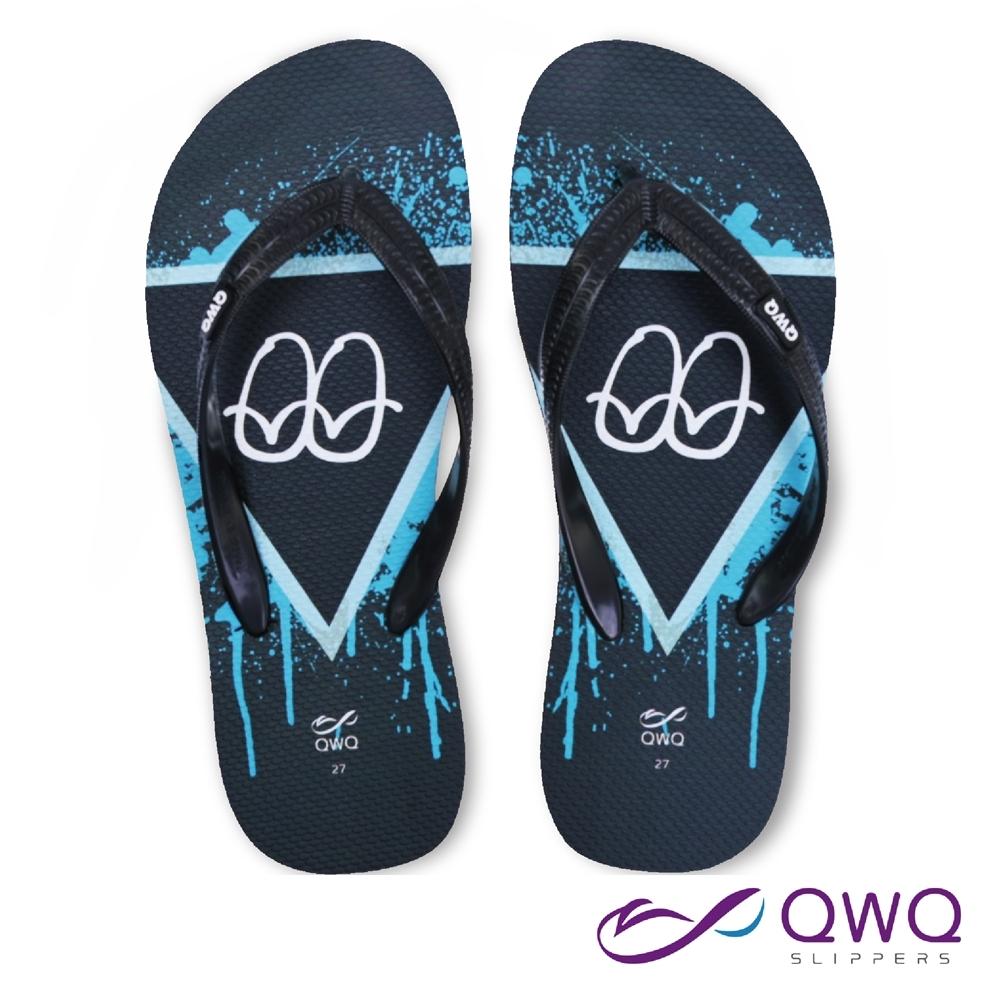 QWQ 男款個性軟Q夾腳拖鞋-鞋帶保固-防滑耐磨-雨天拖鞋-經典塗鴉-黑(ABBA00505)