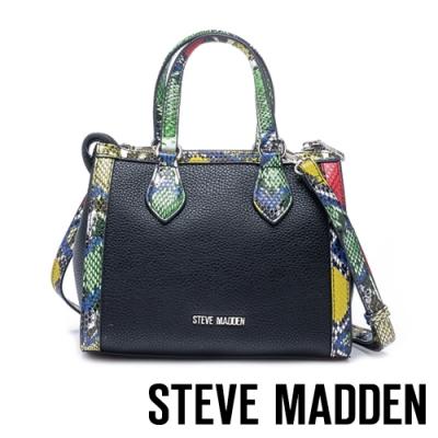 STEVE MADDEN-BLOIS 都會低調彩色蛇紋托特包-彩黑