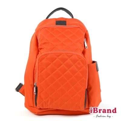 iBrand後背包 率性菱格紋後開式防盜尼龍後背包(M)-哈蜜瓜橙