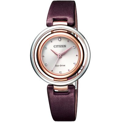 CITIZEN L 光動能天王星圓環晶鑽腕錶-酒紅色-EM0669-13X