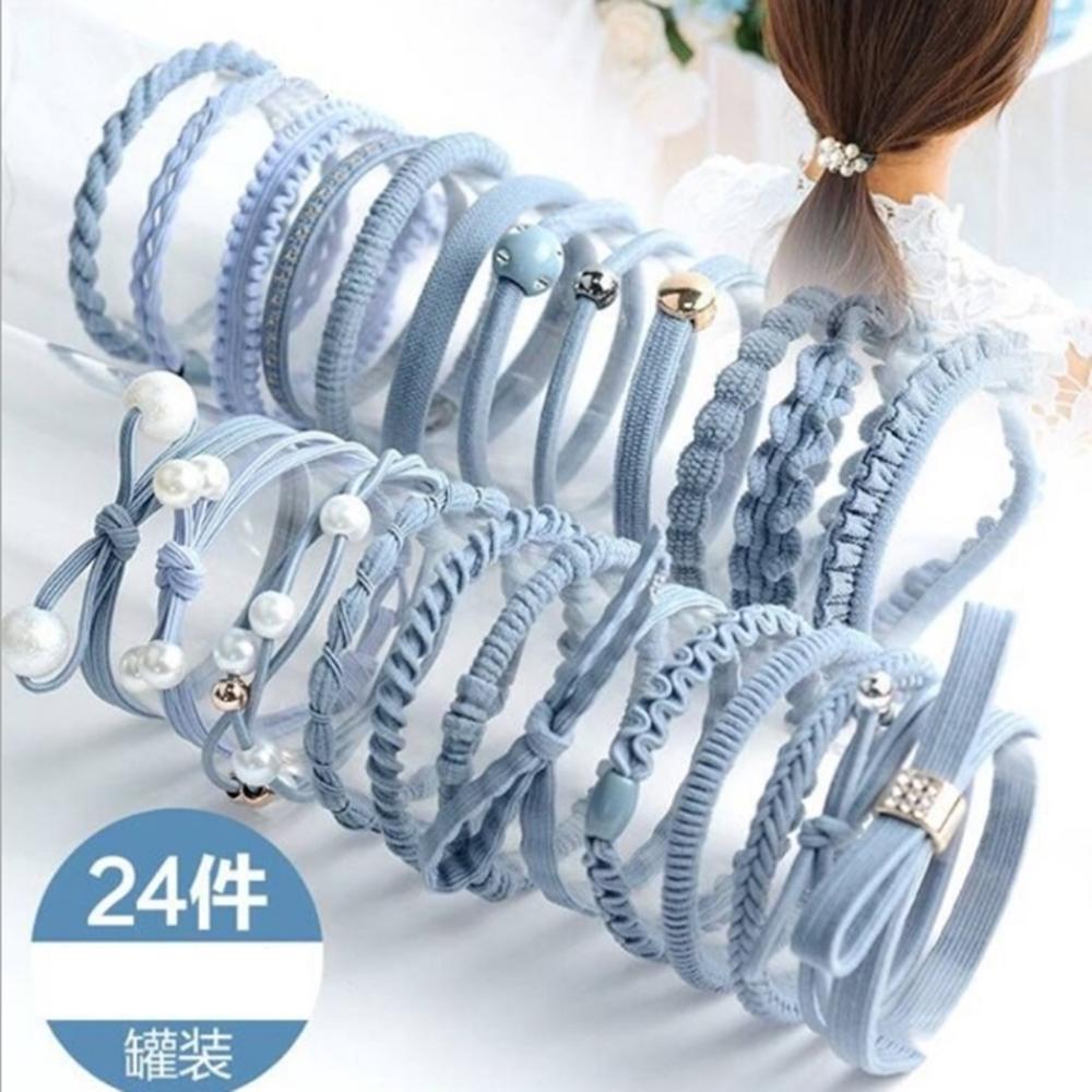 [時時樂限定]梨花HaNA 韓國獨家訂製毛球女孩髮圈(2套組附盒)