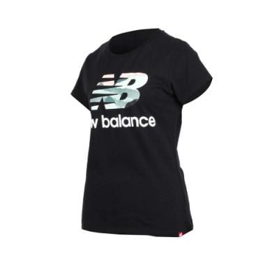 NEW BALANCE女短袖T恤-NB 短T 路跑 慢跑 黑白綠粉