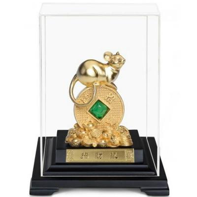 開運陶源 招財鼠金鼠 純金箔雕塑小櫥窗