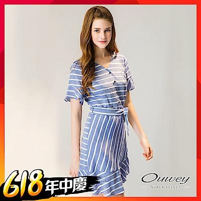 時時樂 OUWEY歐薇 荷葉層次剪接條紋洋裝(藍)