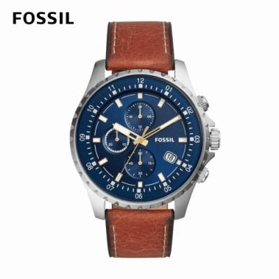 FOSSIL Dillinger 個性時尚三眼計時男錶 棕色真皮皮革錶帶 48MM FS5675