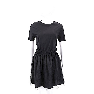 RED VALENTINO 點點蕾絲拼接黑色縮腰連身裙