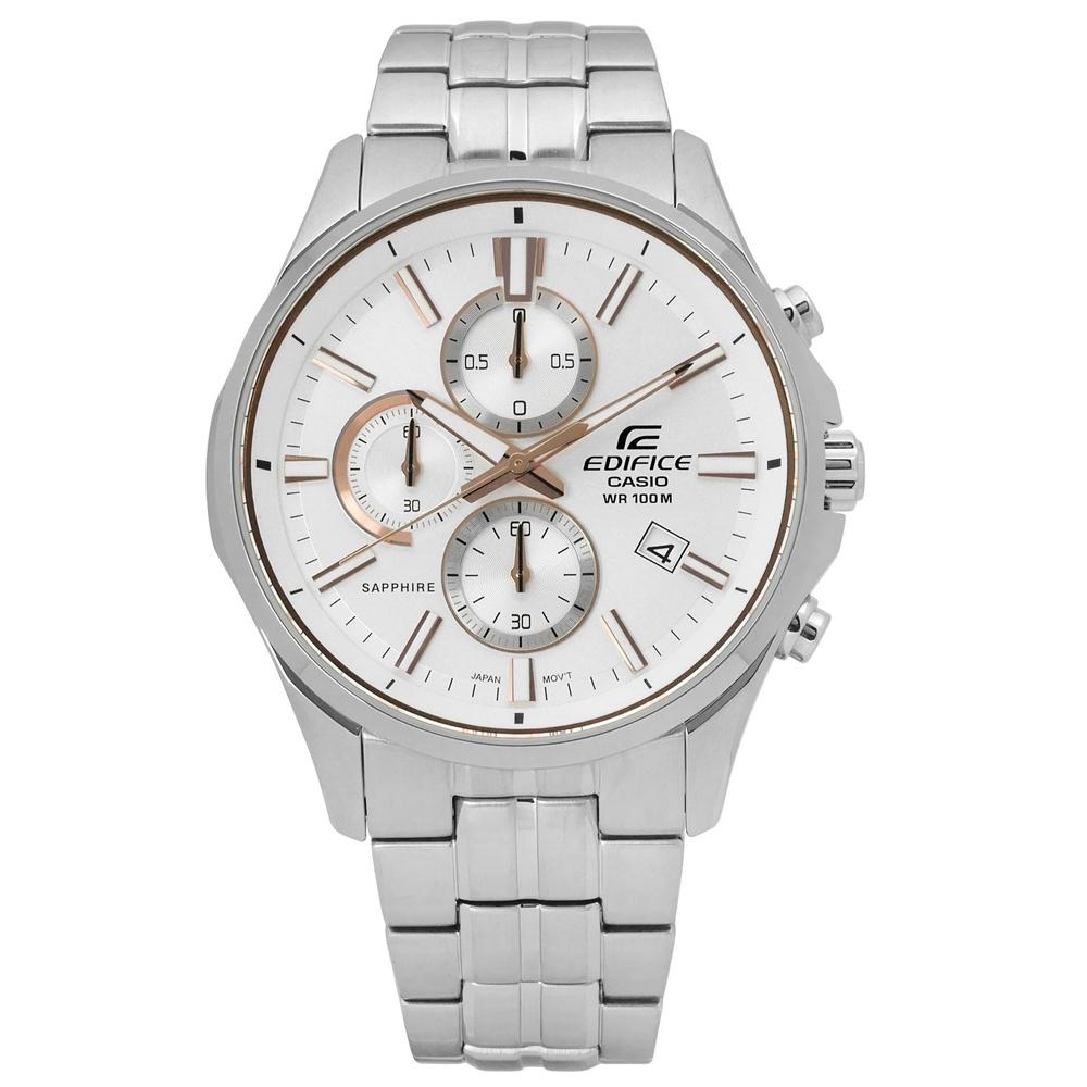 EDIFICE CASIO 卡西歐藍寶石三環不鏽鋼手錶-銀色/42mm