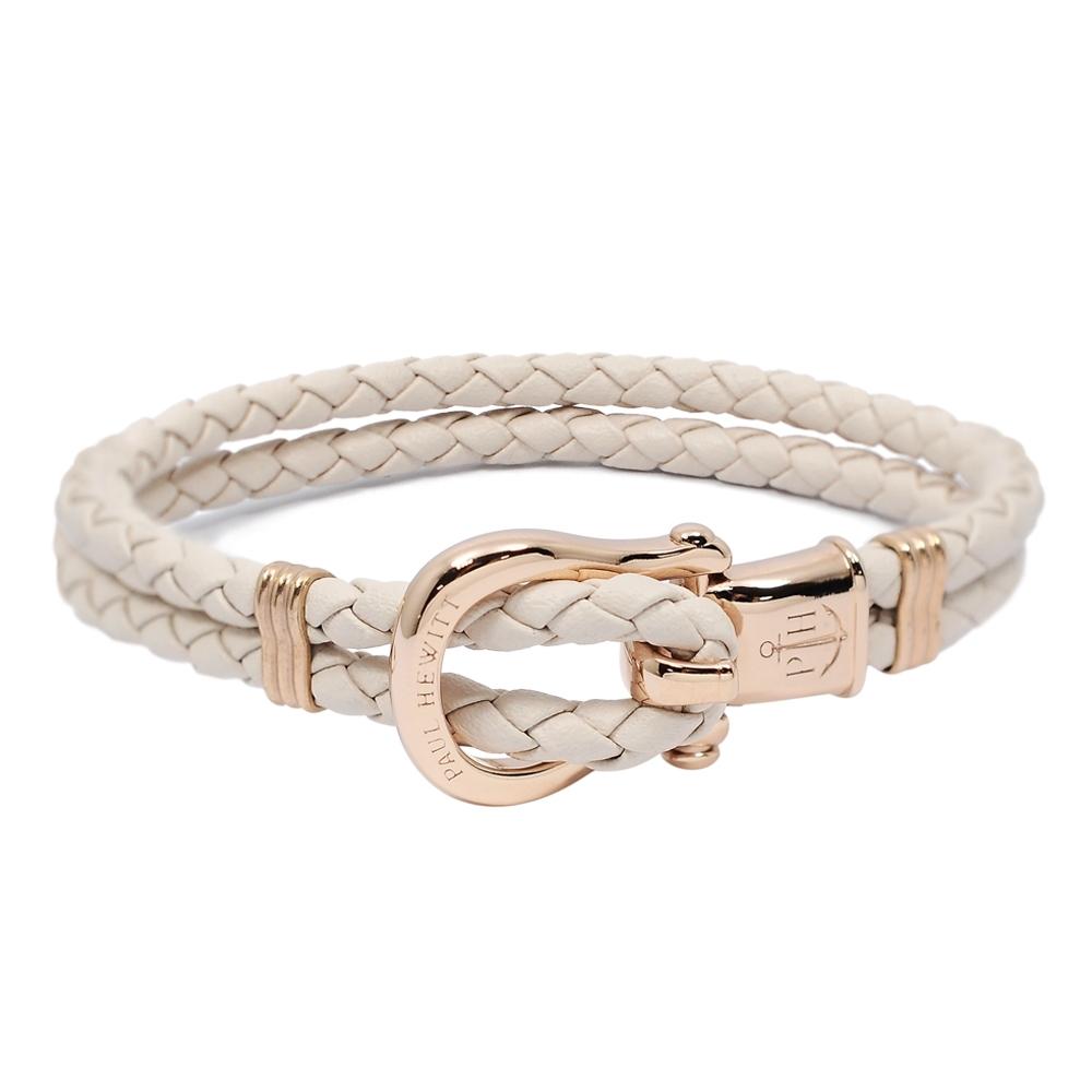 PAUL HEWITT 德國出品 Phinity 裸粉色皮革編織 玫瑰金色錨鍊釦鎖 手環手鍊
