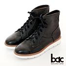 【bac】中性時尚擦色綁帶短靴-黑藍
