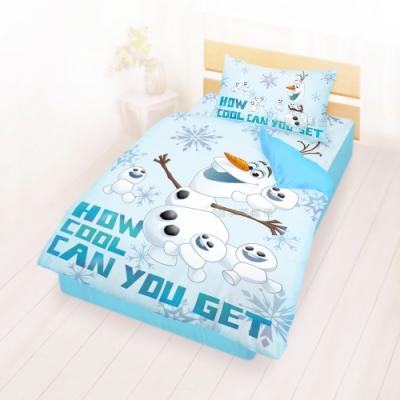 享夢城堡 單人床包涼被三件組-冰雪奇緣FROZEN迪士尼 雪寶與小雪人-藍