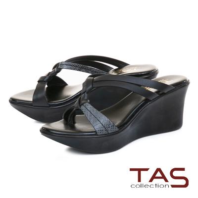 TAS質感蛇紋立體雙結繫帶楔型涼拖鞋-經典黑