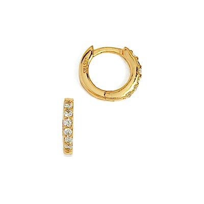 SHASHI 紐約品牌 Katerina 鑲鑽簡約小圓耳環 金色 925純銀鑲18K