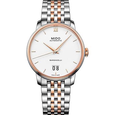 MIDO美度 BARONCELLI 永恆系列 III 大日期機械錶-銀x雙色版/40mm