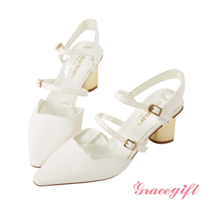 Grace gift-雙帶尖頭方口造型跟鞋 白