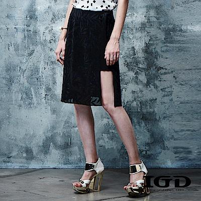 IGD英格麗 竹葉織紋刺繡側開衩及膝裙